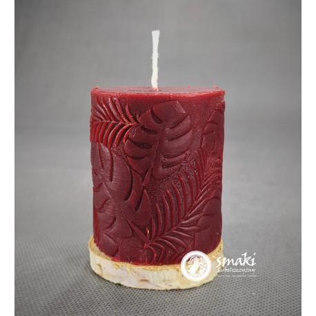 Świeca z wosku pszczelego 240 g MONSTERA MAŁA kol. czerwony
