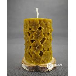 Świeca z wosku pszczelego 210 g KWIATY kol. naturalny